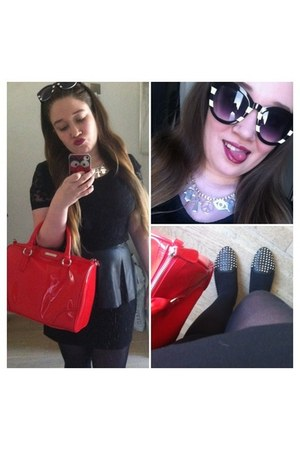 faux leather Mango bag - lace cropped Topshop top - leather details H&M skirt