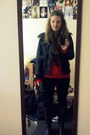Brown-leather-aldo-boots-black-rw-co-jeans-black-leather-bcbg-jacket-red