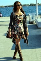 brown Forever 21 boots - Urban Outfitters dress - navy American Eagle jacket