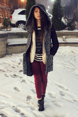 black Urban Outfitters boots - black soia & kyo coat