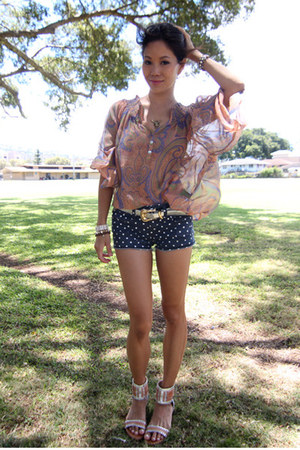 Forever 21 top - Pineapple County shorts - Frye sandals