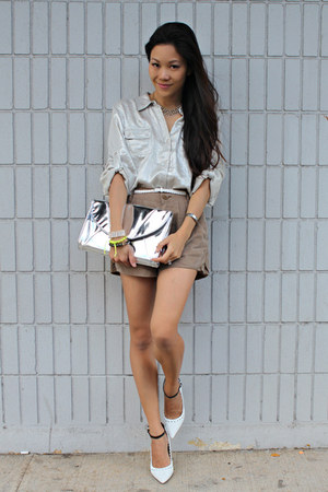 Aldo pumps - Bamboo Sky bag - Spiral girl shorts - calvin klein blouse