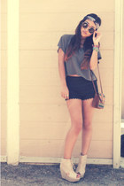 gray obey shirt - black LA market shorts - navy f21 accessories - beige LA marke