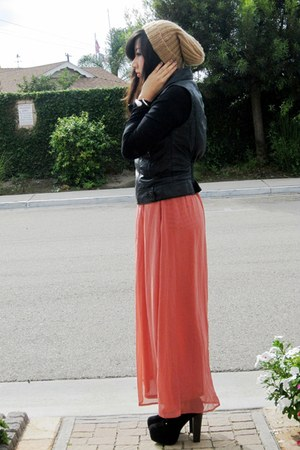 camel H&M hat - black Forever 21 jacket - salmon sheer maxi Forever 21 skirt