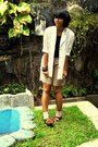 Dark-khaki-shorts-white-lace-blazer-black-top-brown-flats