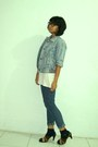 Navy-jeans-periwinkle-jeans-jacket-black-socks-off-white-t-shirt