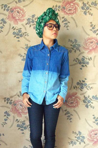 blue unbranded shirt - green unbranded scarf - navy jeans denim Forever 21 pants