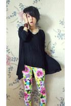 bubble gum spandex unbranded leggings - black unbranded top