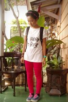 black unbranded socks - hot pink Zara pants - white unbranded t-shirt