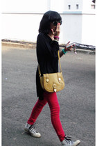red unbranded pants - mustard unbranded bag - ivory Converse sneakers