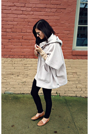 off white Anthropologie cape - beige Forever 21 sweater - black Uniqlo leggings