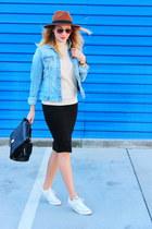 H&M hat - denim H&M jacket - Zara sweater - Oasapcom bag - Stradivarius skirt
