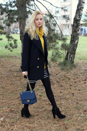 newlookcom boots - Zara coat - vintage sweater - Ebay bag - Forever21 skirt