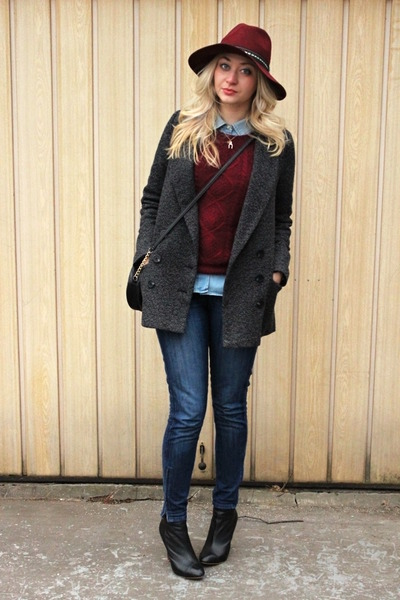 ankle Zara boots - Pimkie coat - Zara jeans - H&M hat - H&M sweater - Zara shirt