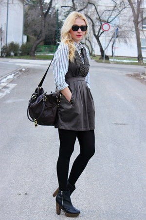 newlookcom boots - Forever21 dress - H&amp;M shirt - asos bag