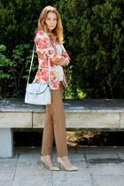 floral Oasapcom blazer - asoscom bag - Mango pants - Mango heels