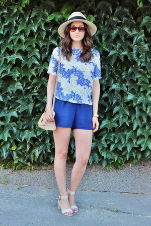 Sheinside blouse - Primark hat - asos bag - asos sandals