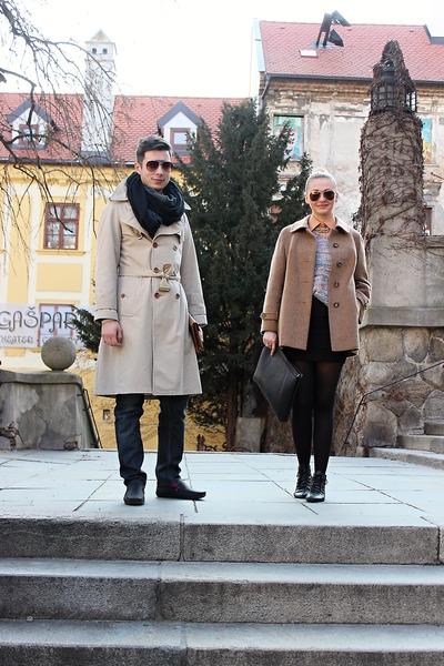 vintage coat - Boohoocom shoes - vintage sweater - vintage shirt