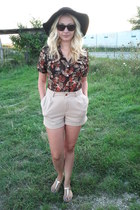 Bershka hat - H&M shorts - asos sandals - vintage blouse