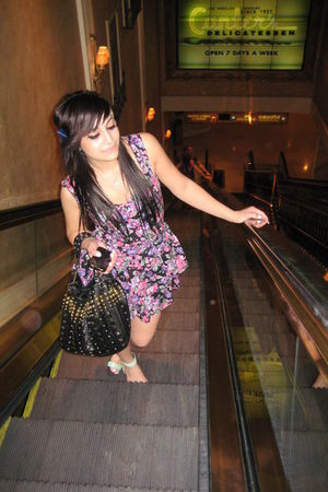 purple dress - blue Urban Outfitters shoes - black purse