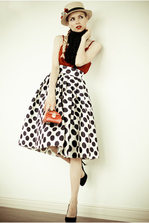 crimson Sheinside blouse - black Sheinside cardigan
