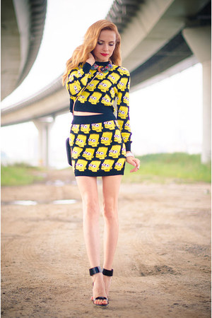 mustard galisfly ring - yellow Wholesale7 dress - black Zara heels