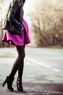 Black-choies-boots-hot-pink-choies-dress-bubble-gum-lalo-treasures-earrings