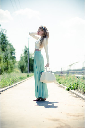 aquamarine Serginnetti skirt - ivory Bershka bag