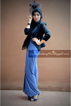 violet maxi Zara dress - black Zara blazer - navy Vincci wedges