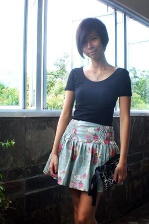 black low back top - green rose print shorts - black rose clutch accessories