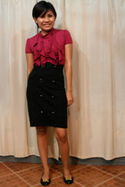 Tantease blouse - black Schu shoes - black H&M skirt