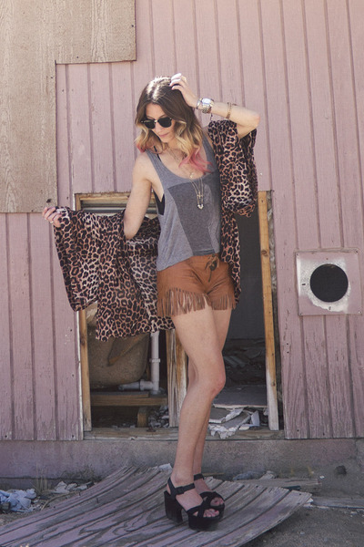 brown leather fringe One Teaspoon shorts