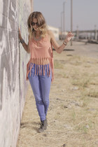 blue blue Agave Denim jeans - nude fringe evil twin top