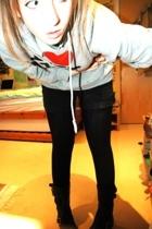 new york sweater - Topshop leggings - H&M shorts - Kurt Geiger boots