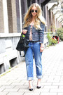 Periwinkle-diesel-jeans-blue-isabel-marant-jacket-black-balenciaga-purse