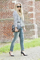 heather gray G-Star jeans - navy rika jacket - black balenciaga purse