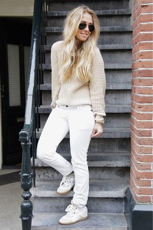 white Isabel Marant sneakers - beige Isabel Marant sweater - white Zara pants