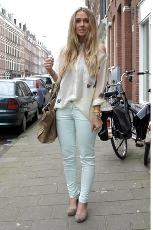 acne blouse - Celine purse - Zara pants