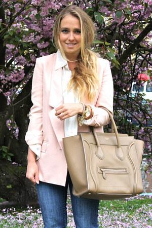 light pink Stella McCartney blazer - brown H&M boots - navy H&M jeans