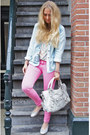 Bubble-gum-zara-jeans-maison-scotch-jacket-balenciaga-purse-sandro-top