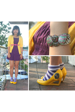 yellow yellow Target cardigan - purple Nordstrom dress