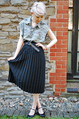 heather gray diy dress top handmade shirt - black pleated Secondhand skirt