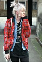 ruby red inside out Harrington jacket - light blue vintage shirt