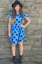 black Matalan boots - blue Dorothy Perkins dress - black new look hat