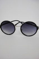 Round Black Faux Silver Detail Sunglasses