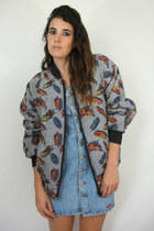 Vintage 80s Colorful Feather and Houndstooth Print Silk Bomber Jacket