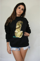Vintage Hand-Painted Metallic Gold Leopard Sweatshirt