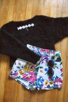 black vintage sweater - pink vintage shorts - purple 90s vintage sunglasses