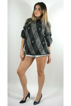 Vintage Black and Grey Textured Cosby Sweater