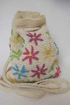 Vintage 90s Colorful Daisy Knit Mini Backpack